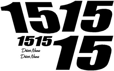 Racing Number Kit 2 Digit One Color Vinyl Decal Kit