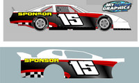 Side Racing Graphic Half Wrap Shown on race car modifed latemodel street stock