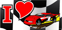 """I heart dirt racing decal 4""""x8"""" use on windows or as a bumper sticker."""