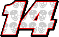 Full color Skull number decals for race car