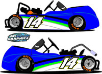 Go Kart Side Wrap Graphic with Numbers