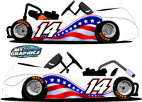 American Flag Racing Go Kart Side Wrap Graphic