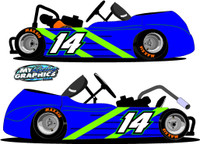 Racing Gokart side wrap Graphic blue green