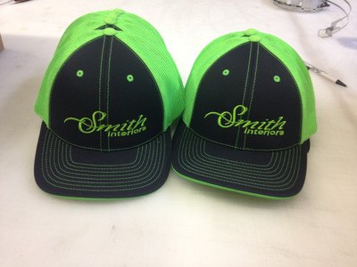 Embroidered fitted mesh back caps smith interiors