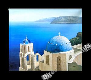 Mediterranean Paintings | Greek Islands Hand Painted on Canvas