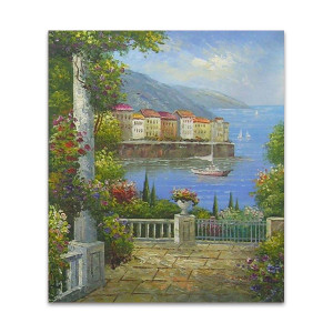 Heaven on Earth    Mediterranean Blue Hand Painted Artwork for Office