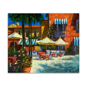 Mediterranean Café | Orange Canvas Wall Art Paintings for Sale