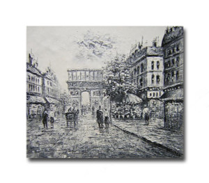 Dawn One   Black & White Wall Art & Streetscape Art Paintings for Sale