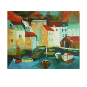 Five Boats   Cheap Art Prints? REAL Paintings