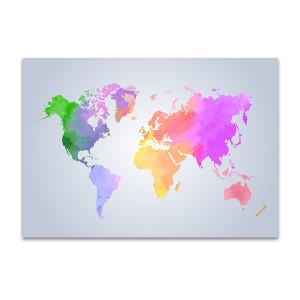 Light Watercolor Map Art Print