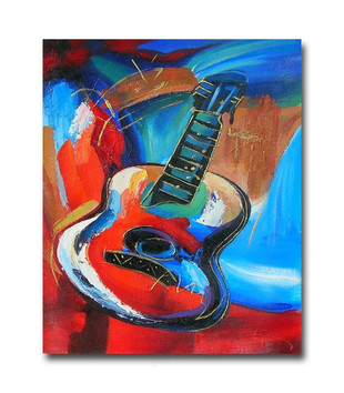 Guitar | Music Art Abstract Modern Painting Oil on Canvas for Music Lovers