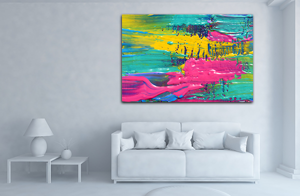 Pink and Green Art Print on the wall