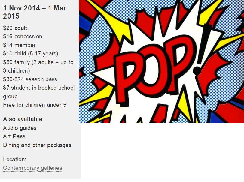 Pop art exhibtion art gallery nsw opening times popism direct art