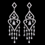"3"" CZ Silver Plated Bridal Chandelier Earrings"