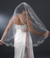 "Couture 42"" Bridal Veil with Beaded Embroidery Scallop Edge"
