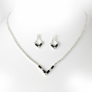 5 Sets Black Rhinestone Bridesmaid Jewelry