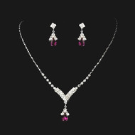 3 Sets Fuchsia Crystal Drop Bridesmaid Jewelry - sale!