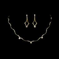 5 Sets Gold Rhinestone Bridesmaid Jewelry Sets