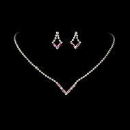 5 Sets Pink Rhinestone Bridesmaid Jewelry