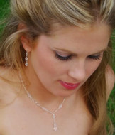 Clear Crystal Bridesmaid Jewelry on model