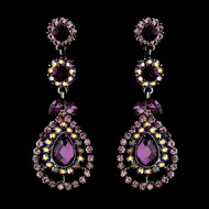 Amethyst Crystal Chandelier Prom and Wedding Earrings