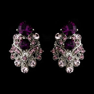 Amethyst Rhinestone Wedding or Prom Clip On Earrings