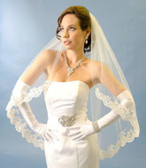 Ansonia Bridal 200S Beaded Lace Edge Fingertip Wedding Veil