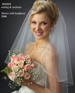 Angel Cut Beaded Elbow Bridal Veil - Many Colors!