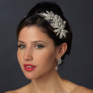 Crystal and Pearl Leaf Side Accent Wedding Headband