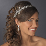 Ornate Antique Silver Crystal Wedding Headband