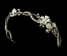 Antique Silver Ivory Rose Vintage Look Bridal Headband