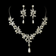 Antique Silver Plated Diamond White Pearl Wedding Jewelry Set