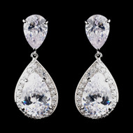 Antique Silver Teardrop CZ Wedding Earrings