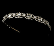 Antique Vintage Look Silver Bridal Rhinestone Headband