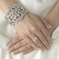 Modern Vintage Crystal Cuff Bridal Wedding Bracelet