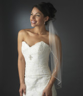 Single Layer Beaded Edge Elbow Length Bridal Veil