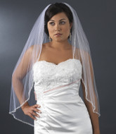 Glistening Beaded Edge Fingertip Length Bridal Veil
