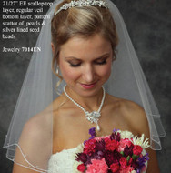 JL Johnson Bridals Beaded Short Veil - Many Colors!