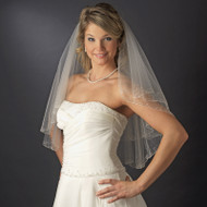 Beaded Two Layer Elbow Length Wedding Veil with Crystals