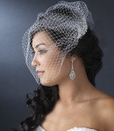 Birdcage Veil with Crystal & Rhinestone Comb