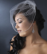 Birdcage Wedding Veil with Sparkling Rhinestone Trim Edge