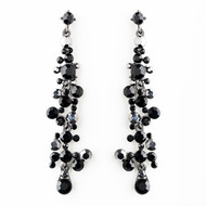 Black Austrian Crystal Drop Earrings for Weddings and Prom
