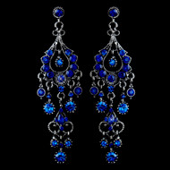 Royal Blue Crystal Chandelier Formal Earrings