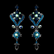 Sapphire and Teal Blue Crystal Chandelier Earrings