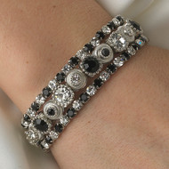 Black Crystal Stretch Bracelet Set for Wedding and Prom