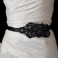 Black Flowers and Lace Beaded Wedding Dress Sash Belt
