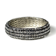 Black Rhinestone Formal Bangle Bracelet