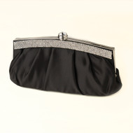 Black Satin Evening Bag Wedding Purse with Crystal Trim