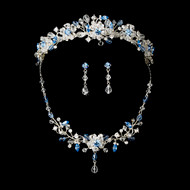Blue Crystal Wedding Tiara and Jewelry Set