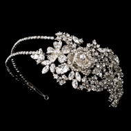 Bold Side Accent Rose Crystal Wedding Headband